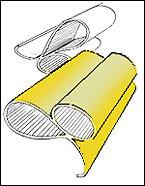 Ispirata alla sezione di una guarnizione di un vecchio prodotto industriale, con il risultato di due ovali che si intersecano a formare un