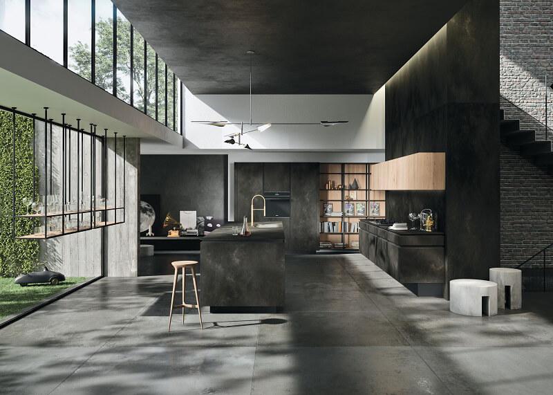 Way Materia Snaidero Ossido nero: solidità scultorea - Cucine d\'Italia